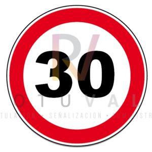 Señal R-301 Velocidad Máxima 30 km/h