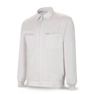 Chaqueta de tergal blanca top 245 gr con cremallera central y bolsillos en el pecho