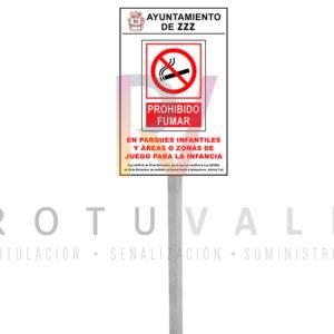 PLACA-Y-POSTE-PROHIBIDO-FUMAR-EN-PARQUES-ROTUVALL