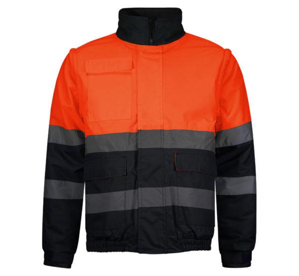 13WR266-Marino-Naranja-Fluor-Rotuvall-CAZADORA-BOMBER-Ropa-Alta-Visibilidad