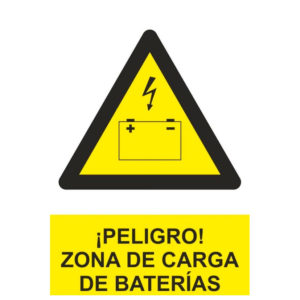Señal advertencia de peligro de zona de carga de baterías