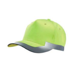 Gorra alta visibilidad amarilla con bandas reflectantes