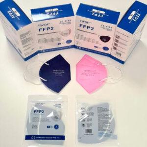 Mascarillas FFP2 azul marino y rosa con su caja y embalaje originales