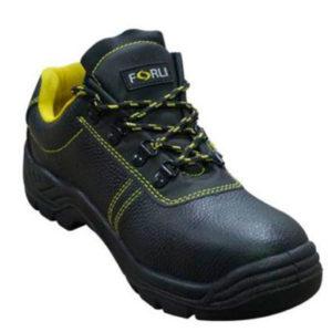 Zapato de seguridad Boston en color negro y detalles en amarillo marca Forli
