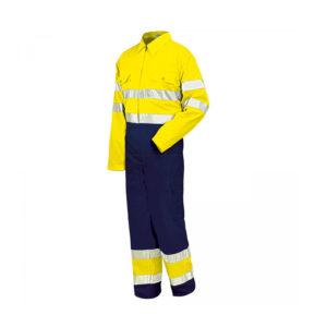 Buzo de trabajo alta visibilidad amarillo y marino tejido tergal