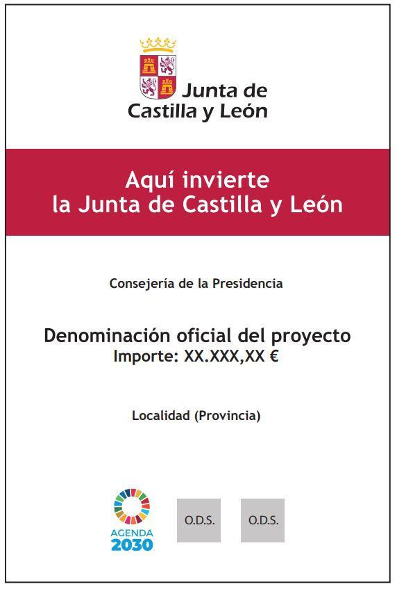 Cartel en forma de valla obligatorio para proyectos financiados por la Junta de Castilla y León con fondos extraordinarios Covid19