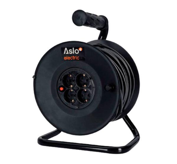 Enrollacables prolongador de 20 metros plástico color negro marca Aslo