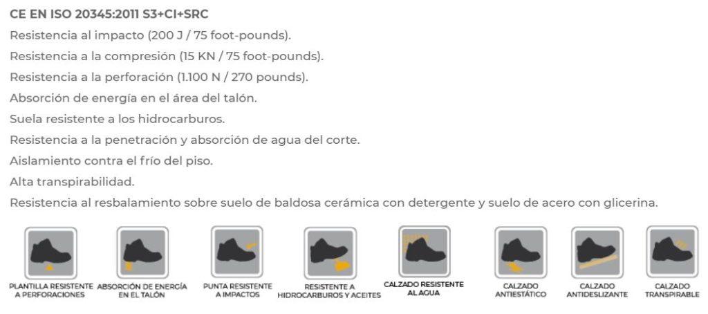 Ficha técnica calzado de seguridad marca Forli