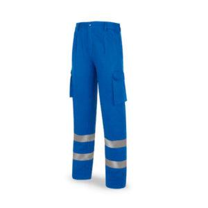 Pantalón de trabajo azulina algodón con bandas reflectantes