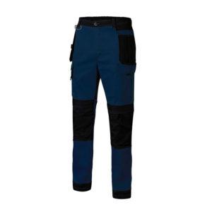 Pantalón de trabajo tejido canvas en azul y negro multibolsillos