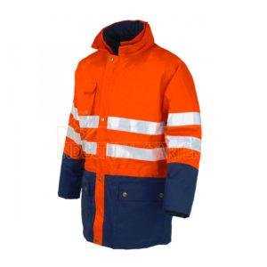 Parka alta visibilidad bicolor naranja y marino Industrial Starter