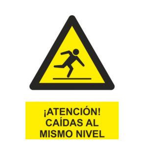 Señal advertencia atención caídas al mismo nivel