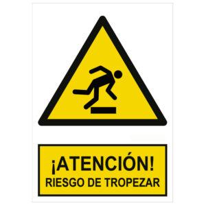 Señal de advertencia atención riesgo de tropezar