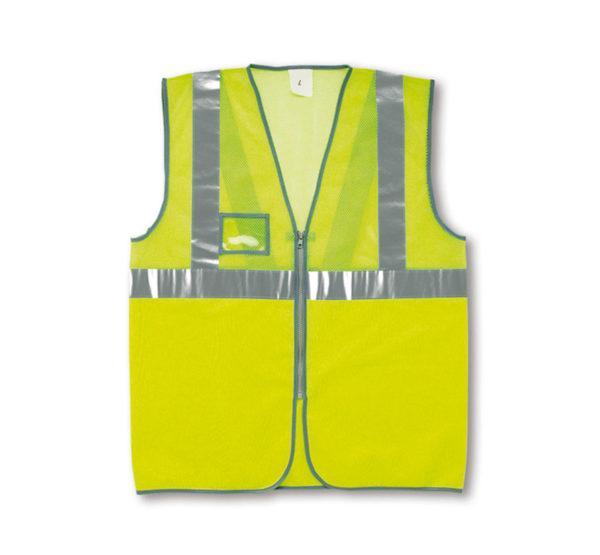 Chaleco alta visibilidad amarillo con rejilla y cremallera