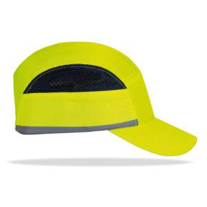 Gorra de alta visibilidad con protección anti golpe color amarillo