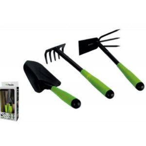 Kit para jardín con 3 piezas en acero, marca iTools en color verde y negro