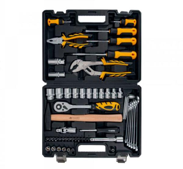 Maleta de herramientas 58 piezas abierta mostrando todas sus piezas colocadas