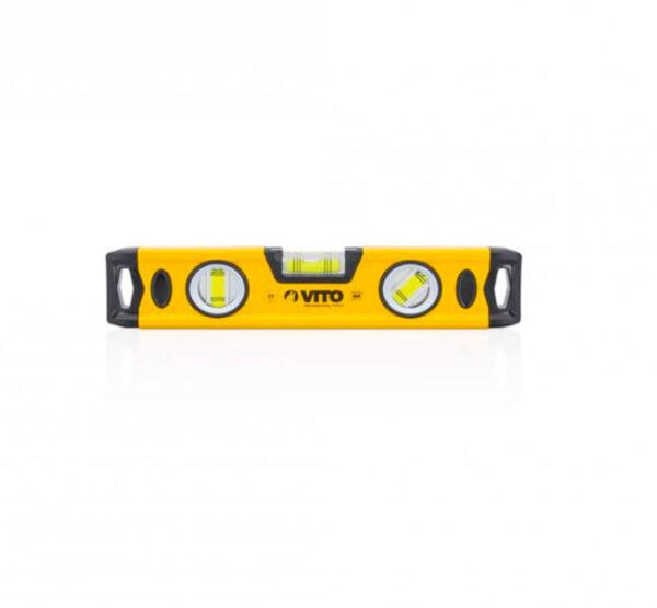 Nivel aluminio magnético 25 cm, marca Vito color amarillo y negro