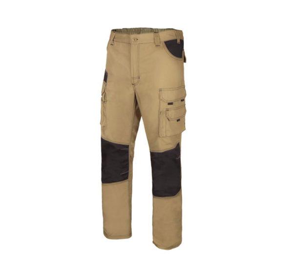 Pantalón de trabajo canvas multibolsillos bicolor beige y negro