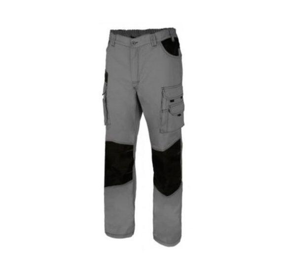 Pantalón de trabajo canvas multibolsillos bicolor gris y negro