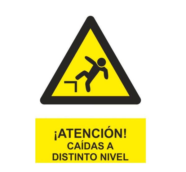 Señal advertencia atención caídas a distinto nivel