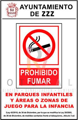 Cartel prohibido fumar en parques infantiles y zonas de juego para la infancia