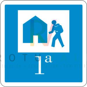 Placa de albergue turístico de primera categoría de Galicia fondo blanco pictogramas en azul