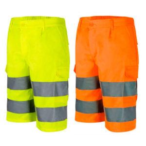 Bermudas de alta visibilidad en amarillo y naranja flúor