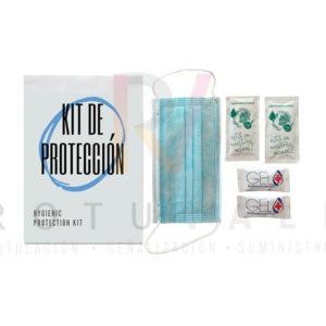 Kit de protección coronavirus económico con sobre, mascarilla, geles monodosis y toallitas hidroalcohólicas monodosis