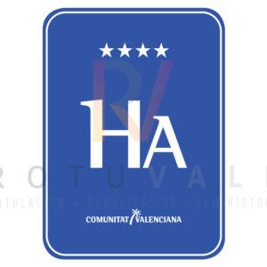 Placa distintivo de Hotel Apartamento de la Comunidad Valenciana 4 estrellas