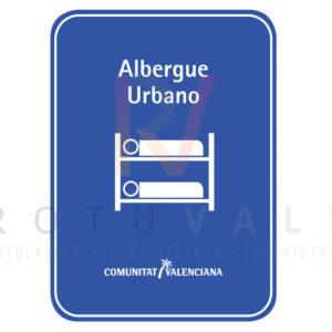 Placa de albergue urbano de la Comunidad Valenciana fabricada en metacrilato