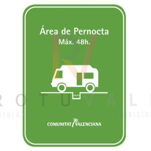 Placa área de pernocta Comunidad Valenciana fabricada en metacrilato