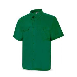 Camisa de trabajo verde manga corta tergal
