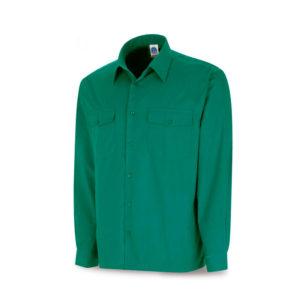 Camisa de trabajo verde manga larga tergal