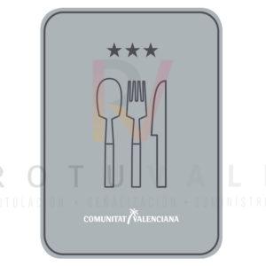 Placa restaurante 3 estrellas Comunidad Valenciana