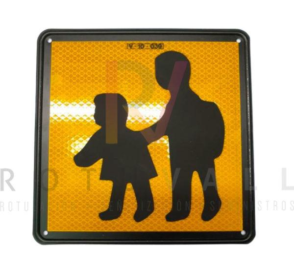 Señal V-10 placa de transporte escolar aluminio 20x20 cm
