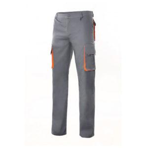 Pantalón de trabajo multibolsillos gris y naranja marca Velilla